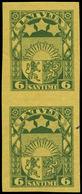 ** LETTONIE - Poste - 177, Paire Verticale Non Dentelée: 6s. Vert/jaune (Michel 118y) - Lettland