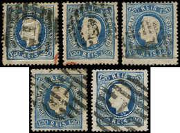 O PORTUGAL - Poste - 33, Lot De 5 Exemplaires: 120r. Bleu - Non Classés
