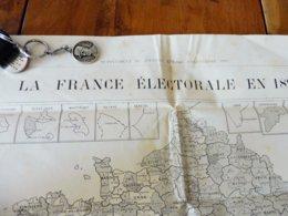 CARTE De La FRANCE électorale En 1893    (Supplément Au Journal LE TEMPS)  La Nouvelle Chambre Après 162 Ballotages - Maps