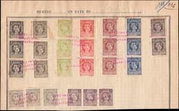 """SPE SERBIE - Poste - 133/41 + 143, 9 Bandes De 3 (137=paire) Sur Page D'album UPU, Surcharge Rouge """"specimen Collection  - Serbien"""
