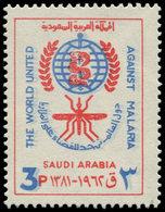 ** ARABIE SAOUD. NEDJED - Poste - 200, Couleur Bleue Doublée, (2° Passage Plus Clair), Filigrane Renversé: 3p. Paludisme - Saudi-Arabien