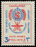 ** ARABIE SAOUD. NEDJED - Poste - 200, Couleur Bleue Doublée, (2° Passage Plus Clair), Filigrane Renversé: 3p. Paludisme - Arabia Saudita