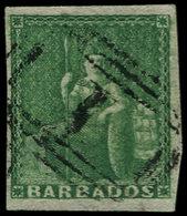 O BARBADE - Poste - 4, Très Bel Exemplaire, Bien Margé: (1/2p) Vert. - Barbados (1966-...)