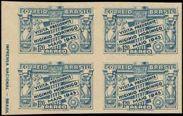 (*) BRESIL - Poste Aérienne - 35, Bloc De 4 Non Dentelé, Papier épais, Signé (RHM) - Brazil