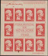 (*) BRESIL - Blocs Feuillets - 4, Non Dentelé Sur Papier Normal, (tache Sur 1 Timbre), Sans Filigrane: Expo New-York (RH - Brazil