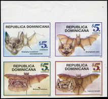 ** DOMINICAINE - Poste - 1290/93, Non Dentelés, Bloc De 4, Bdf (tirage 100): Chauve-souris - Dominikanische Rep.