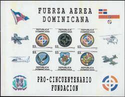 ** DOMINICAINE - Poste - 1296/1301, Feuillet Complet Non Dentelé, (tirage 100): Forces Aériennes, Hélicoptères - Dominikanische Rep.