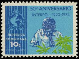 ** DOMINICAINE - Poste Aérienne - 254, Impression Par Erreur Sur La Gomme: 10c. Interpol - Dominikanische Rep.
