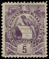 (*) GUATEMALA - Poste - 46, Gravé Type I: 5c. Violet Quetzal - Guatemala