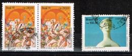 """Brasilien 1990/91,Michel# 2380 + 2401 O Lubrapex 90-Sculptures/""""Escola De Samba"""" Parades In Rio De Janeiro - Brazilië"""