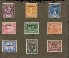 """SPE GUATEMALA - Poste - 233/35 + 237/42, Sur Carton De L'imprimeur Avec N° De Références, Surchargés """"specimen"""" - Guatemala"""