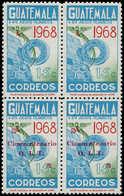 ** GUATEMALA - Poste - 423, Bloc De 4, Les 2 Timbres Supérieurs Sans Surcharge (10 Paires Connues): 15c. Oit, Quetzal Et - Guatemala
