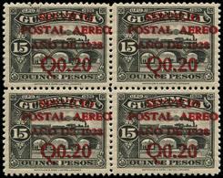** GUATEMALA - Poste Aérienne - 4, Bloc De 4, Double Surcharge (tirage 100): 0.20 S. 15p. Noir (2 Exemplaires = *) - Guatemala