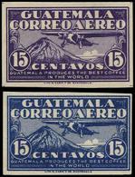 * GUATEMALA - Poste Aérienne - 6A, Valeur Non émises 15c, 2 Essais En Violet Ou Bleu (Goodman E 373 CG) - Guatemala