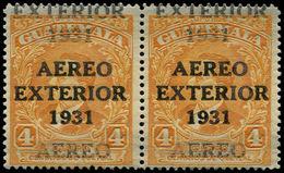 ** GUATEMALA - Poste Aérienne - 12, Double Surcharge, Paire Type I + II: 4c. Exterior 1931 - Guatemala
