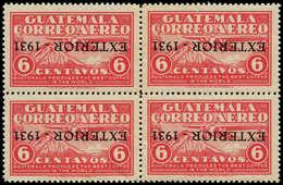 ** GUATEMALA - Poste Aérienne - 13, Bloc De 4, Surcharge Renversée (rousseurs): 60c. Rose Exterior 1931 - Guatemala