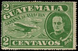 (*) GUATEMALA - Poste Aérienne - (1932), Type Non émis (plis): 2c. Vert Semaine De L'aviation - Guatemala