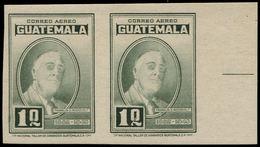 * GUATEMALA - Poste Aérienne - 158, Paire Non Dentelée Bdf, Signée Kessler, (tirage 40): 1q. Roosevelt (un Exemplaire =  - Guatemala