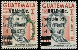 ** GUATEMALA - Poste Aérienne - 551, Erreur Sans La Surcharge Verte (Oiseau Quetzal), 1 Feuillet De 28 Exemplaires A été - Guatemala
