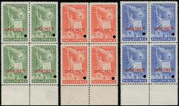 """** PHILIPPINES - Poste - 395/97, 3 Blocs De 4, Surcharge Rouge """"specimen"""" + Perfo De Contrôle: Droits De L'homme, Libert - Filipinas"""
