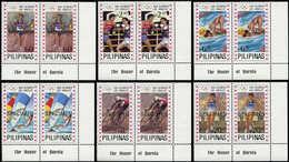 """** PHILIPPINES - Poste - 1386/91, 6 Paires Cdf Avec Légende, Surchargées """"specimen"""": Jeux Olympiques De Los Angeles 84 - Filipinas"""