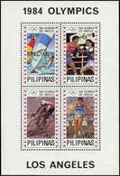 """** PHILIPPINES - Blocs Feuillets - 20, Surcharge Noire """"specimen"""": J.O De Los Angeles 1984, Cycle, Boxe - Filipinas"""