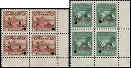 """** PHILIPPINES - Service - 80/81, 2 Blocs De 4 Cdf, Surcharge Rouge """"specimen"""" - Filipinas"""