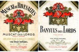 2 étiquettes Vins Banyuls Des Lords Années 50. Nicolau Vasques - Labels