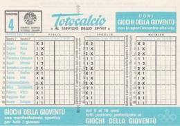 SCHEDINA TOTOCALCIO - CONCORSO 4 - COMITATO OLIMPICO NAZIONALE ITALIANO -  ANNO. 1982 - Vecchi Documenti