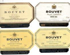 4 étiquettes Vins Saumur Bouvet. Méthode Traditionnelle Et Champenoise. - Labels