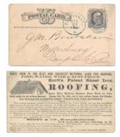 UX5 Postal Card Blue Cincinnati O Duplex Cancel Advertisement Scotts Sheet Iron Roofing - Postal History