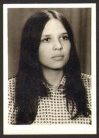 Pretty Long Hair Girl Woman Portrait Old Photo 6x9 Cm #29302 - Personnes Anonymes