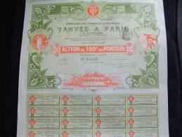 """Action """"Cie Des Tramways Electriques Vanves à Paris""""1899 Excellent état,avec Tous Les Coupons. - Chemin De Fer & Tramway"""