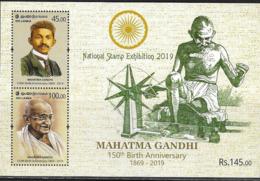 SRI LANKA, 2019, MNH, GANDHI, 150th BIRTH ANNIVERSARY OF MAHATMA GANDHI, NATIONAL STAMP EXHIBITION OVERPRINT, SHEETLET - Mahatma Gandhi