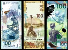 * Russia 100 Rubles ! 2014 Olympic - 2015 Crimea - 2018 FIFA ! Set 3 Bil ! UNC ! - Rusland