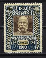 1910 AUSTRIA - YVERT 135 MICHEL 177 -REIMPRESIÓN - 80 ANIVERSARIO EMPERADOR FRANCISCO JOSÉ I - MNH** - 1850-1918 Empire