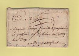 Lille (manuscrit) - Nord - 1734 - Courrier D'Armentieres Pour Bruges En Flandres - Taxe Corrigée - 1701-1800: Precursores XVIII