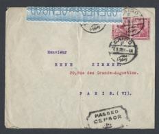 /Enveloppe Avec Censure TAD Du Caire 17/11/1918 Vers Paris Avec Bande Censure - 1915-1921 British Protectorate