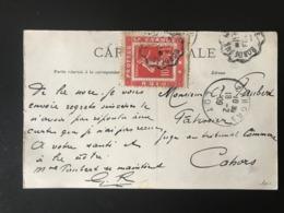 "France N°135 Sur Porte Timbre ""Dieu Protège La France"" Sur CPA - (B1255) - 1877-1920: Periodo Semi Moderno"