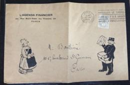 Grande Enveloppe Décorée De L'agenda Financier Avec Tarif Imprimé à 1c Accepté ! Type Blanc N°107 TTB - 1900-29 Blanc