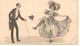 """Illustrateur """"VIEUX BEAU""""  ET DANSEUSE DE CANCAN Charme Humour Déshabille Chapeau MM Vienne - Illustrateurs & Photographes"""
