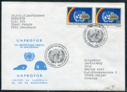 MACEDOINE - N° 14 (2) / LETTRE DE L'UNPROFOR DE SKOPJE LE 2/8/1993 , POUR OSIJEK - SUP - Macédoine