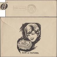 Luxembourg 1967. Enveloppe De Franchise Des Chèques Postaux. Beurre Pasteurisé, Rose, Femme Au Sourire Ravageur - Vaches