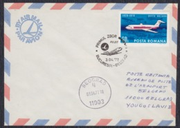 Romania 1977 First Flight Bucarest - Beograd, Airmail Letter - Cartas