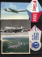 Aviation 3 Different Airplanes Postcards + 2 Labels (BOAC,KLM,Air France) - 1946-....: Ere Moderne
