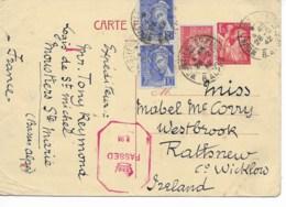 Entier Iris 1f25 Cad MOUSTIERS STE MARIE  28/12/1942 Pour L IRLANDE Censure  TB - Postmark Collection (Covers)