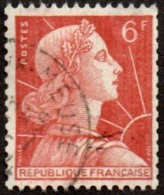 Oblitération Cachet à Date Sur Timbre De France N° 1009 A - Marianne De Muller 6fr Brun-orange - Roulette - France