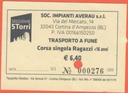 ITALIA - ITALY - ITALIE - 2019 - Cortina D'Ampezzo - Seggiovie 5 Torri - Trasporto A Fune - Corsa Singola Ragazzi - Used - Biglietti Di Trasporto
