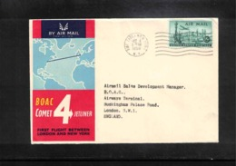 Aviation 1958 BOAC First Flight New York - London - Briefe U. Dokumente