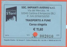 ITALIA - ITALY - ITALIE - 2019 - Cortina D'Ampezzo - Seggiovie 5 Torri - Trasporto A Fune - Corsa Singola Adulti - Used - Biglietti Di Trasporto